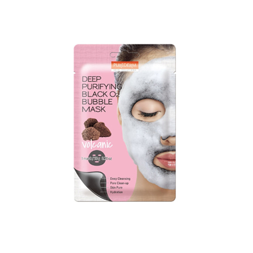 PUREDERM Deep Purifying Black O2 Bubble Mask Volcanic 20g